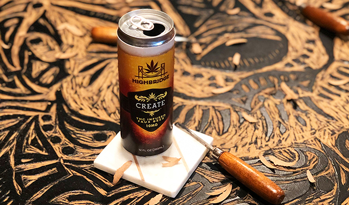 HighBridge Faux Create Beer next to carving