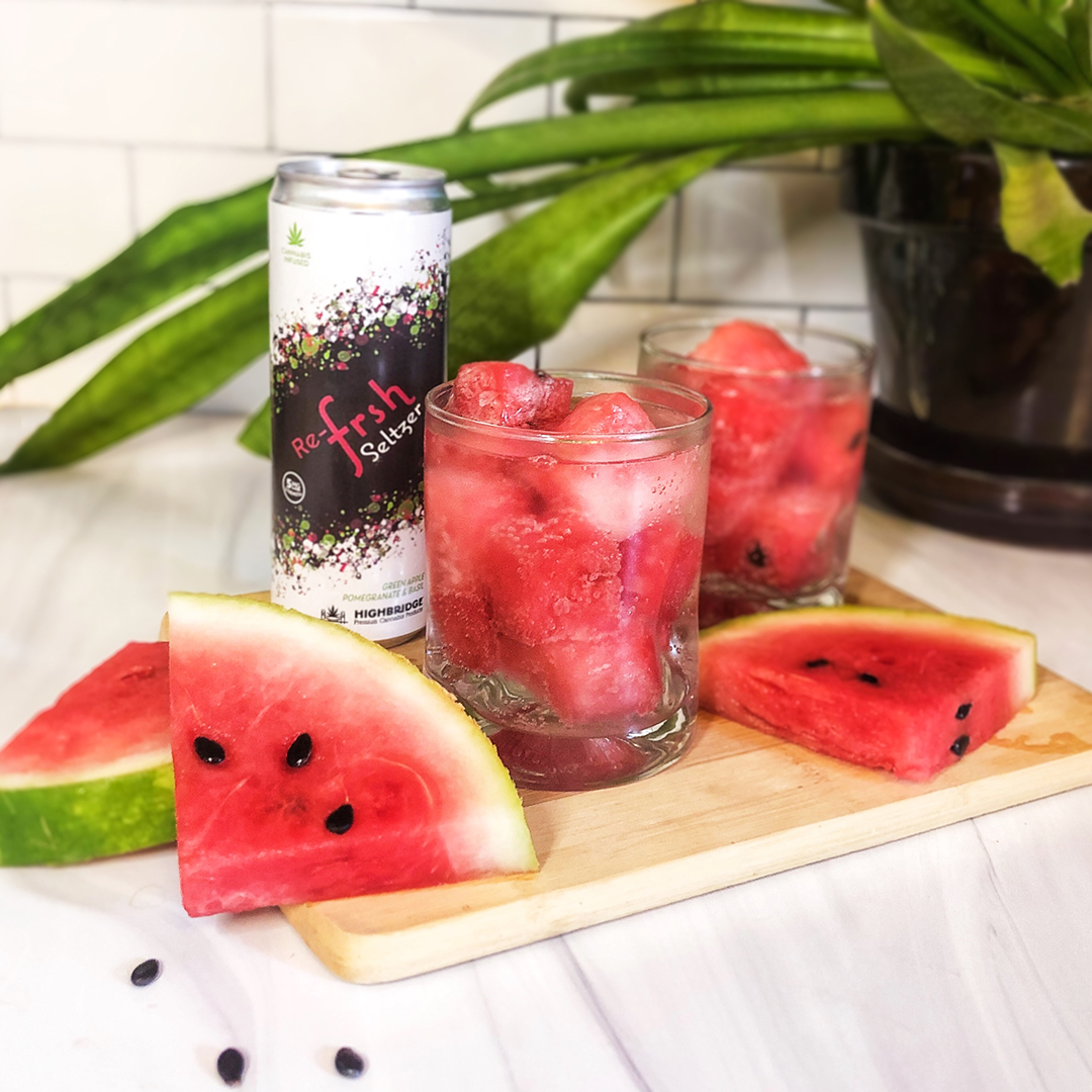 HighBridge seltzer with watermelon for mixed drink